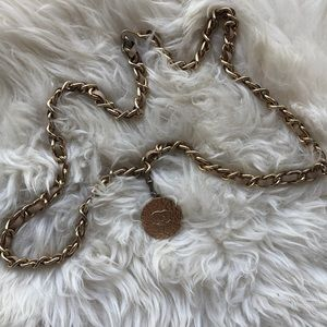 Vintage CHANEL Beige and Gold Chain Belt